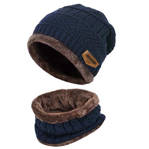 Cappello Uomo Invernale Berretto Uomo in Maglia con Sciarpa 2 Pezzi Cappello da Sci all'aperto e Set Sciarpa Teschio Lavorato a Maglia (Blu Scuro)