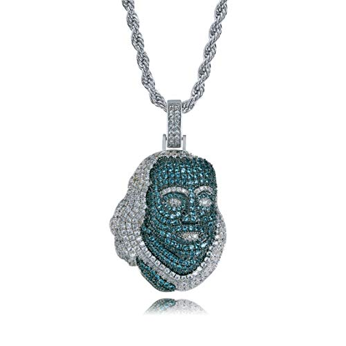 JINAO 18K White Gold Plated Iced Out Cubic Zirconia Blueface Pendant Necklace with Rope Chain