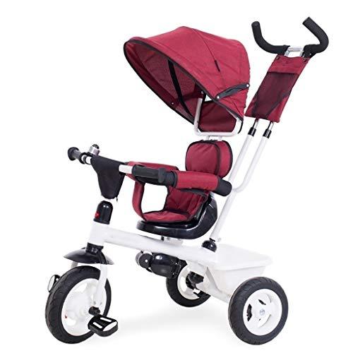 xy Dreiräder Outdoor-Dreirad, Kinder-Geländefahrrad Mit Markise Hand Schubstange, Verstellbar 3 Farben Kinder-Buggy (Color : Red)