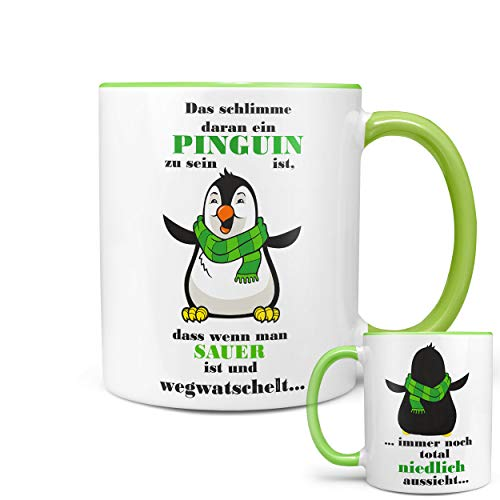 ★★Riesen Auswahl★★ Tasse Spruch Motive Fun Premium Geschenk Keramik, Original Sunnywall ® Geschenkidee (26 Pinguin niedlich)