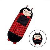 plhzh masajeador 2 en 1 Almohada Convertible en Saco de Dormir, Almohada Grande y Saco de Dormir Happy Nap Play, Saco de Dormir Divertido-Black Ladybug