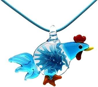 MNMXW Collares Cadena Colgante Animal Gallo Pollo Murano Cristal de Murano Colgante Encantos Joyería Collar Caja de Regalo Embalaje (Color de Piedra Principal: Verde)