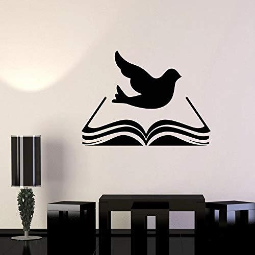 yaonuli Buch Wandtattoo Bibliothek Bibel Religiöse Vogel Taube Wandaufkleber Klassenzimmer Dekoration Schlafzimmer Dekoration Wandbild 68X87cm
