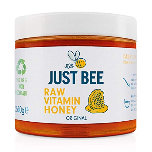 Just Bee Raw Vitamin Honey, raw natural honey with vitamins, floral and meadow honey with Vitamin C, B6, B12, Echinacea (260g jar)