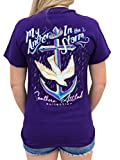 Southern Attitude My Anchor in The Storm Cross Anchor Purple Women's Short Sleeve T-Shirt (Large)