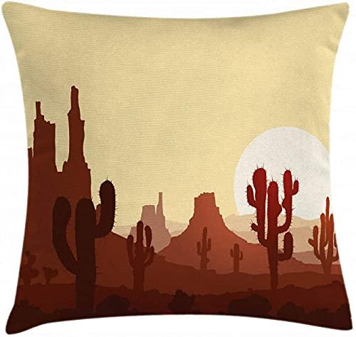 Kuddfodral, kuddeöverdrag, torrt landskapslandskap med solnedgång i stenöken Saguaro och berg, Dekorativt örngott med fyrkantig accent, 45X45cm, gulbrun rödved