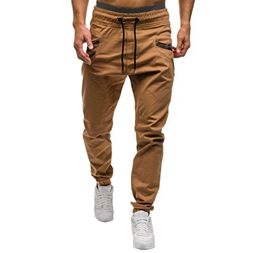 Luotuo Cargo Lange Hose Mode Männer Freizeit Einfarbig Jogginghose Jungen Slim Fit Streetwear mit Tasche Gummizug in der Taille Freizeit Hosen