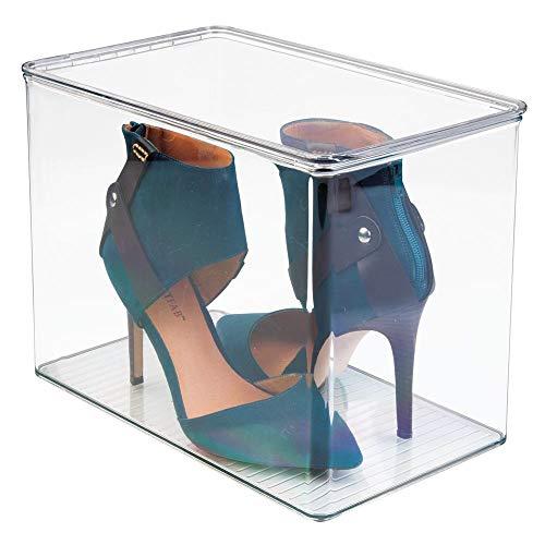 mDesign Organizador de zapatos para el armario o las estanterías – Cajas para guardar zapatos de tacón o botas – Cajas de zapatos transparentes