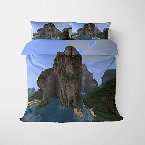 NICHIYO Minecraft Military Duvet Cover Bedding Set - Duvet Cover and Pillow Case, Microfibre, 3D Digital Print Three-Piece Bed Linen (Duvet Cover + Pillowcases) (18, Double 200 x 200 cm)