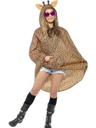 Giraffen Party Poncho mit Zugbeutel, One Size