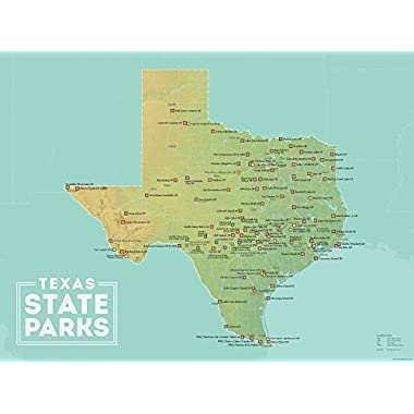 Best Maps Ever Texas State Parks Map 18x24 Poster (Green & Aqua)