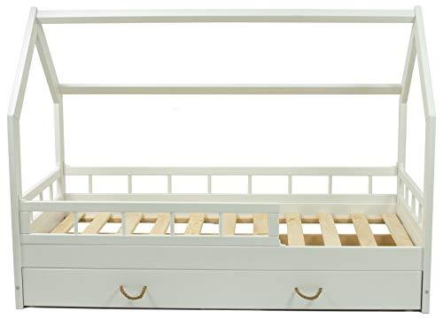 letto casetta legno stile montessori scandinavo bambino 160x80 cassetto sponda (colore: bianco)