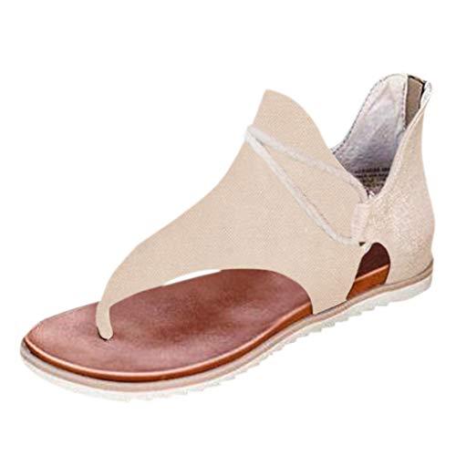 Retro Leopard Flip-Flop Sandals, TWIFER Sandalen Damen Sommer Flip Flops, Frauen Römische Gladiator Sandalen Flache Sandalen Lässig Sandalen Peep Toe Schuhe(b-Beige,41 EU)