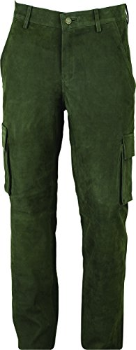 Jagd Lederhose Herren lang- Lange Lederhose Damen - Cargo Lederhose- Lederjeans- Echt Leder festem Nubuk - Lederhose Jeans 501 Olive- Motorrad Lederjeans (46)