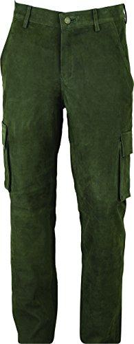 Jagd Lederhose Herren lang- Lange Lederhose Damen - Cargo Lederhose- Lederjeans- Echt Leder festem Nubuk - Lederhose Jeans 501 Olive- Motorrad Lederjeans (52)
