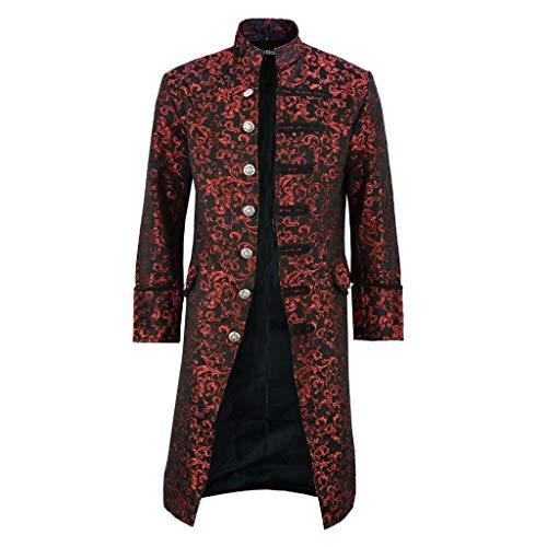 KPILP Herren Jacke Steampunk Vintage Gothic Retro Mantel Uniform Lang Smoking Trenchcoat Outwear Fasching Karneval Cosplay Kostüm Männer Langarm Stehkragen