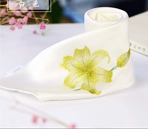 Z.L.FFLZ Embroidery Handkerchief Handkerchief Floral Lily Ladies' Pocket Handkerchief Silk Handmade Embroidery Suzhou Embroidery Gifts (Color : Brown, Size : S)