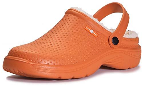 Donna Pantofole Invernali Uomo Zoccoli e Sabot Pelliccia Antiscivolo Ciabatte da Impermeabile Scarpe da Giardino Inverno All'aperto, 42 EU, Arancione
