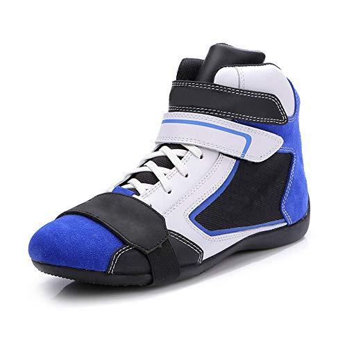 MOTUO Motorradstiefel Atmungsaktives Motorradschuhe für Herren Beiläufig Rider Biker Protektoren Schuhe, Blau,Blau,45EU