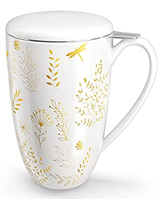 immaculife Tea Cup with Infuser and Lid Ceramic Tea Mug with Lid - Teaware with Filter 15oz, Platinum Print