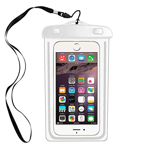 """Universal Waterproof Case Compatible with iPhone 11 PRO MAX X/8/8plus 7plus/6plus, Galaxy s8/s7 Google HTC10 Smartphone Diagonal to 6.3"""",Water Parks/Beach/Cruise/Pools Snorkeling-White"""