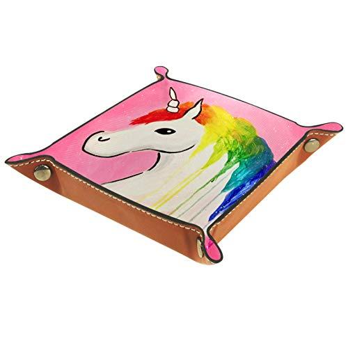 ZDL Caja de almacenamiento con diseño de unicornio arcoíris para llaves, teléfono, moneda, cartera, relojes, etc. 16 x 16