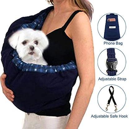 OrgMemory Pet Sling Carrier, Adjustable Sling Bag, Small Dog Cat Outdoor Shoulder Carrier Bag (Blue Plaid) 3