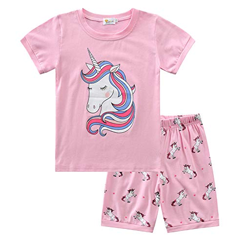 Fansu Niños Pijamas de Manga Corta Dos Piezas para Niñas, Estampado Animal Lindo Verano Cómoda Algodón Infantil Pijamas Camisetas y Pantalones Conjunto de Pijamas (140cm,Unicornio Rosa)