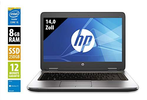 HP ProBook 640 G2-14,0 Zoll - Core i5-6300U @ 2,4 GHz - 8GB RAM - 250GB SSD - DVD-RW - WXGA (1366x768) - Win10Home (Zertifiziert und Generalüberholt)