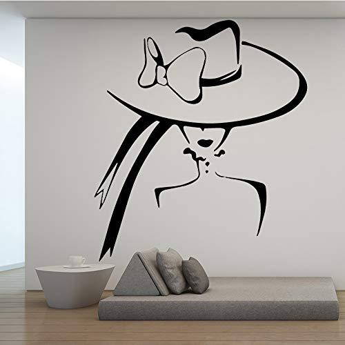 Etiqueta de la pared del salón de belleza hermosa mujer sombrero maquillaje modelado silueta etiqueta de la pared arte mural etiqueta de la pared A5 58x65 cm