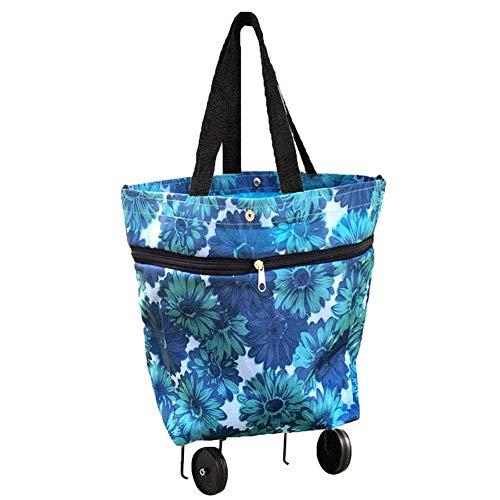 Lvhan Einkaufswagen - Einkaufstrolley Klappbar,Einkaufstasche mit 2 Räder