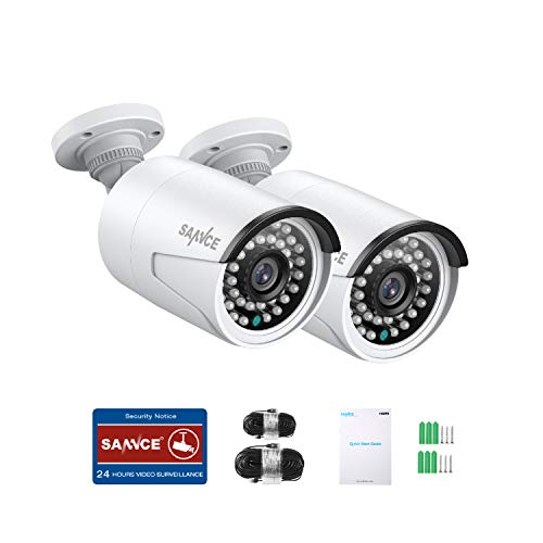 SANNCE PoE 2 MP FHD Cámara de vigilancia 2 x 1080P Cámara HD Resistente a la intemperie con LED IR Inteligentes Aviso Push App Acceso Remoto