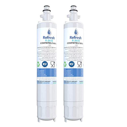 Refresh Replacement Refrigerator Water Filter Compatible With GE RPWF, R-3600 and FILTER models RWF1063, RWF3600A, RPWF, WSG-4 (does NOT fit RPWFE) - 2 pack