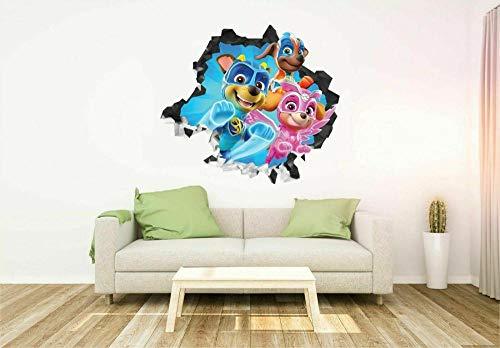 Wandtattoo Patrol Mighty Pups 3D Kunst Aufkleber Kinder Schlafzimmer Baby Kinderzimmer Poster Wohnzimmer Wandbild 20x27inch(50x70cm)