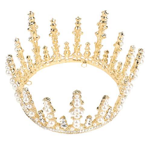 Lurrose Vintage Crystal Crown Rhinestone Boda Tiaras Novia Princesa Perla Diadema Joyería...