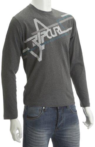 RIP CURL Ripcurl Railroad Tracks LS tee Gun Metal Heath Impreso Camiseta para Hombre Gris Gun Metal Heath Talla:Small