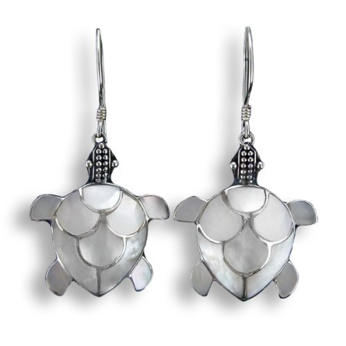 ISLAND PIERCINGS Edle 925er Silber Perlmutt Ohrringe Schildkröten Design Handarbeit SER006b