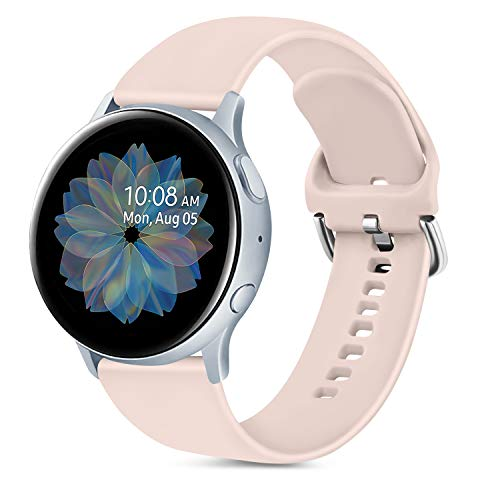 Oumida 20mm Correa Compatible con Samsung Galaxy Watch Active 40mm/Active2 40mm 44mm,Pulseras de Repuesto de Silicona Suave para Samsung Galaxy Watch 42mm/Watch 3 41mm/Gear Sport(S,Rosa Sand)