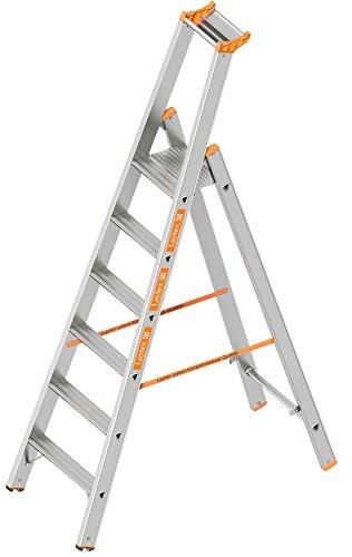 Layher 1064006 Stufenstehleiter einseitig begehbar TOPIC mit 6 breiten Stufen Aluminiumleiter klappbar mit Podest, Länge 2.20 m