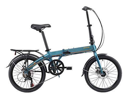 KESPOR K7 Folding Bike for Adults, Women, Men, Rear Carry Rack, Front and Rear Fenders, Shimano 7 Speed Aluminum Easy Folding City Bicycle 20-inch Wheels, Disc Brake (Green)