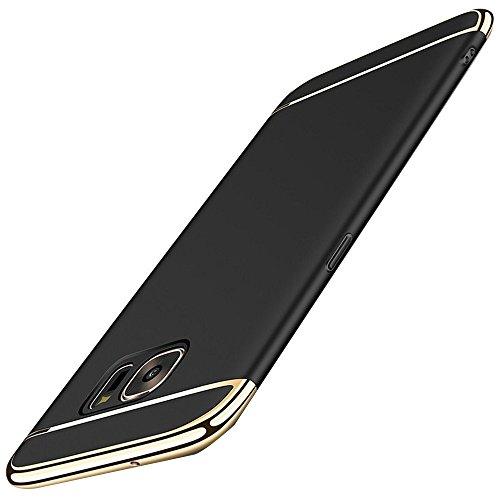 Vanki Custodia Samsung Galaxy S6 Edge Plus 3 in 1 Hard PC Ultra Sottile Placcatura Anti-Scratch Bumper Protettiva Cover Case per Samsung Galaxy S6 (Samsung Galaxy S6 Edge Plus, Nero)
