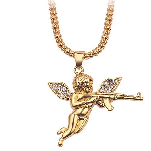 LYXin Mode Frauen Schmuck Gold Farbe Engel Halskette Baby Angel Gun Anhänger Charme Anhänger Halskette Mann Geschenk