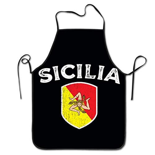 Not Applicable Unisex Küchenschürzen Damen Herren Kellnerin Koch Sicilia Italia Kochschürze Kochschürze Grillschürzen