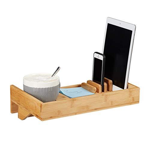 Relaxdays bedplank, mini-nachtkastje om vast te klemmen, van bamboe, bekerhouder D: 9 cm, ruimtebesparende organizer, natuur, diameter