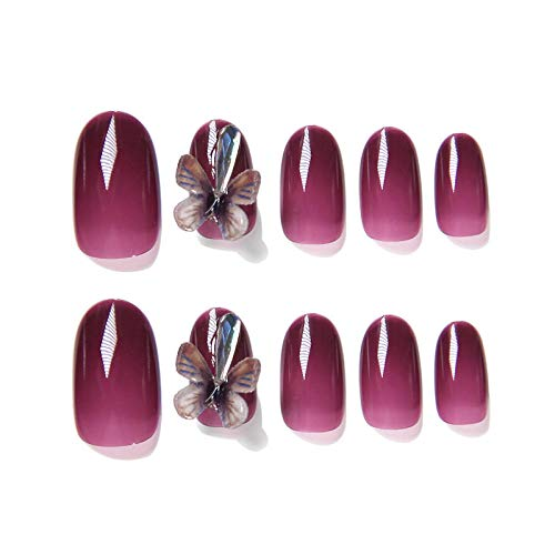 CLOAAE 24pcs / box of new fairy girl wearable fake nails press transparent purple crystal three-dimensional butterfly removable nails