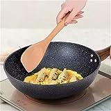 Wok Non-Sobry Pan Pan-Free Cocinar Pot Cocina de Inducción Cocina de gas Hogar Iron Pan Ceramic Kiithen Utensilios de cocina Cocina Potilla Parrilla (Color : 32cm new)