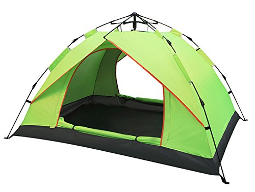 Aur-Green Vitesse instantanée ouverte Lancer la pop-up Tente Famille Installation automatique en 1 seconde Camping hydraulique en plein air Tente de randonnée 3-4 personnes Tente étanche Logement de plage 210 x 200 x 135 CM