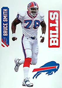 "Bruce Smith Fathead Graphic + Buffalo Bills Logo Set Official NFL Vinyl Wall Graphics 17"" INCH"