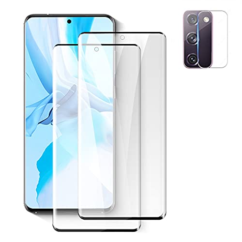 """[2+1] Galaxy S20 (6.2"""") Tempered Glass Screen Protector + Camera Lens Protector [Fingerprint Support][Case Friendly] [Anti-scratch] [Bubble Free] HD Clear Film for Sansung Galaxy S20"""