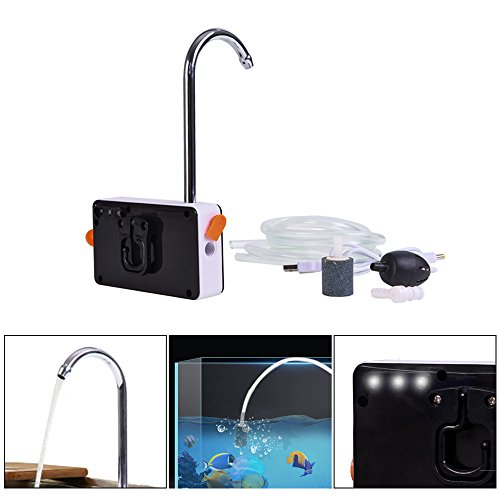 Lixada 3-in-1 Mini Aquarium Oxygenator Waterpomp stille USB oplaadbare pompen luchtpomp waterpomp met lokverlichting voor aquarium